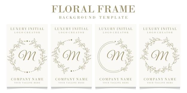 花のフレームの背景テンプレートと豪華な文字mロゴデザイン