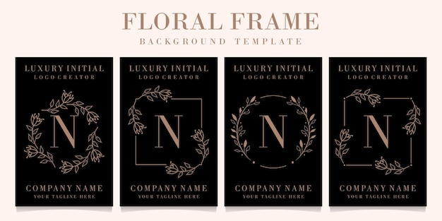 Luxury letter n logo design with floral frame background template Premium Vector