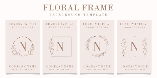 Luxury letter n logo design with floral frame template Premium Vector