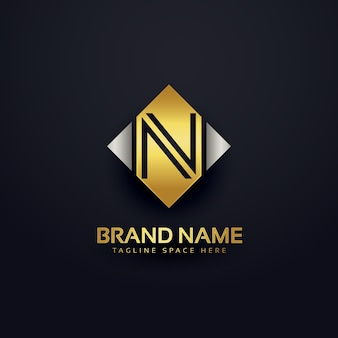 Luxury letter n logo design