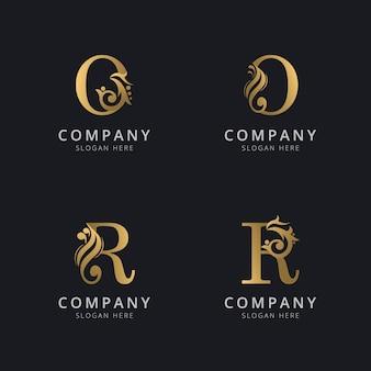 ゴールドカラーのロゴテンプレートが付いた豪華な文字oとr