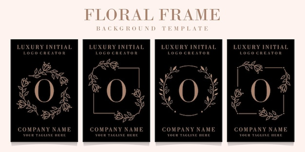 Luxury letter o logo design with floral frame background template