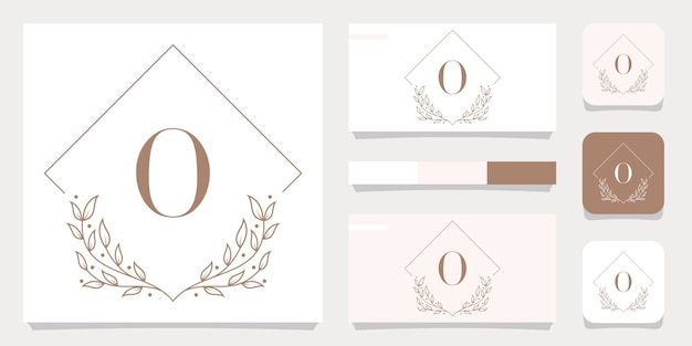 Luxury letter o logo design with floral frame template, business card design