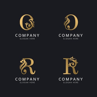 Luxury letter o and r with gold color logo template