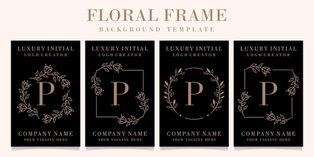 Luxury letter p logo design with floral frame background template