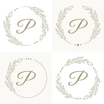 Роскошный дизайн логотипа буква p с цветочным узором фона шаблона