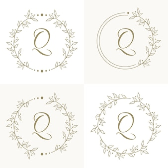 Luxury letter q logo design with floral frame background template