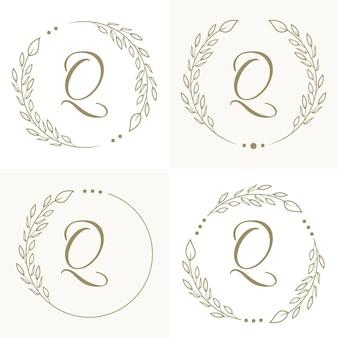 Роскошный дизайн логотипа буква q с цветочным узором фона шаблона