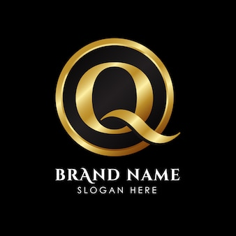 Luxury letter q logo template in gold color