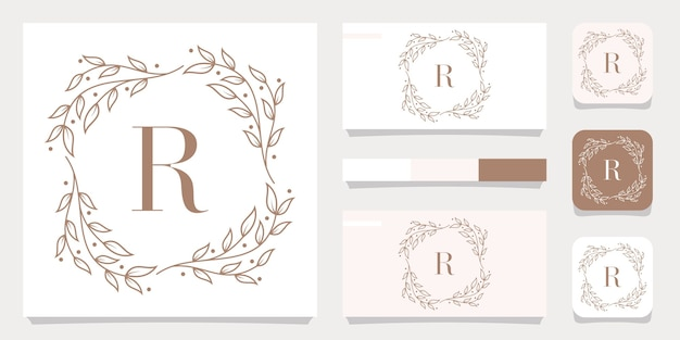 Luxury letter r logo design with floral frame template, business card design