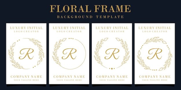 Luxury letter r logo design with floral frame