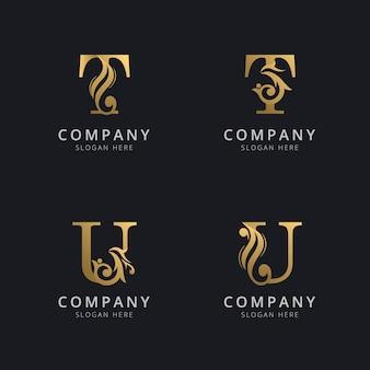 ゴールドカラーのロゴテンプレートが付いた豪華な文字tとu