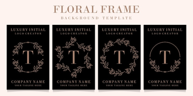 Роскошный дизайн логотипа буква t с цветочной рамкой фона шаблона Premium векторы