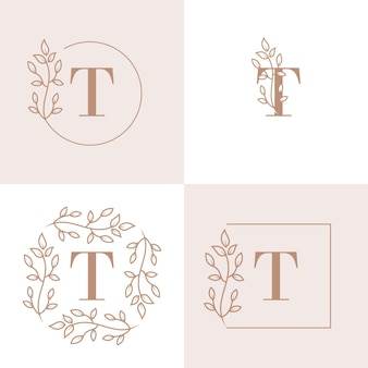 Luxury letter t logo design with floral frame background template