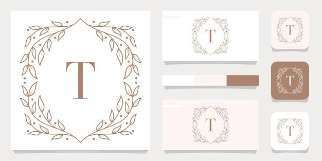 Роскошный дизайн логотипа буква t с цветочным шаблоном рамки, дизайн визитной карточки