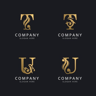 Luxury letter t and u with gold color logo template