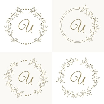 Luxury letter u logo design with floral frame background template