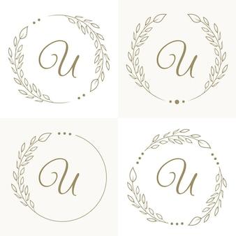 Роскошный дизайн логотипа буква u с цветочной рамкой фона шаблона