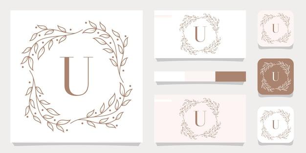 Luxury letter u logo design with floral frame template, business card design