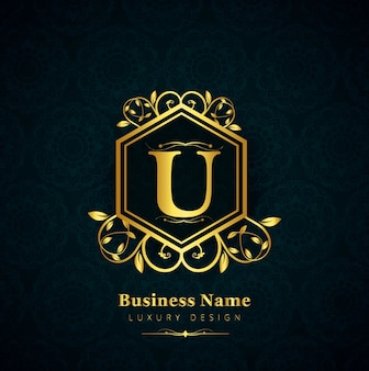 Luxury letter u logo