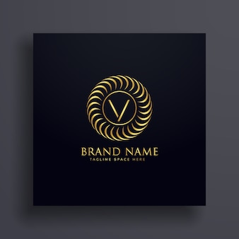 Design di lusso logo v logo design in colore dorato