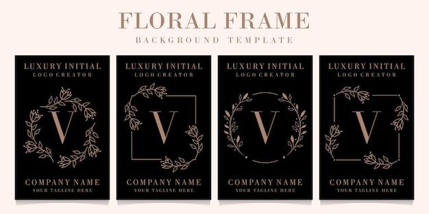 Luxury letter v logo design with floral frame background template