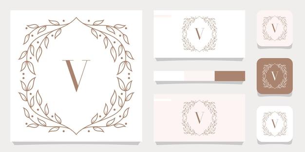 Luxury letter v logo design with floral frame template, business card design