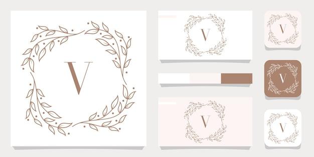 Роскошный дизайн логотипа буква v с цветочным шаблоном рамки, дизайн визитной карточки