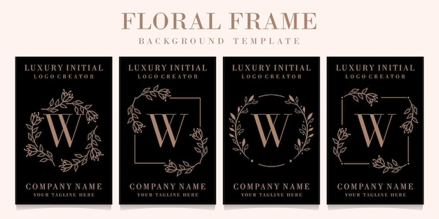 Luxury letter w logo design with floral frame background template