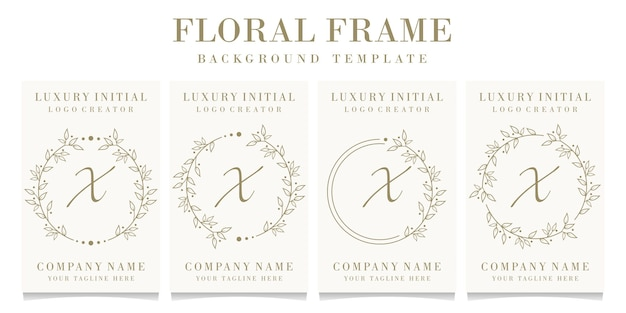 Luxury letter x logo design with floral frame background template