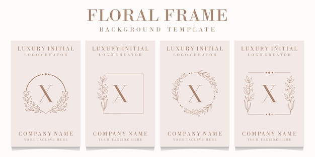 Luxury letter x logo design with floral frame template