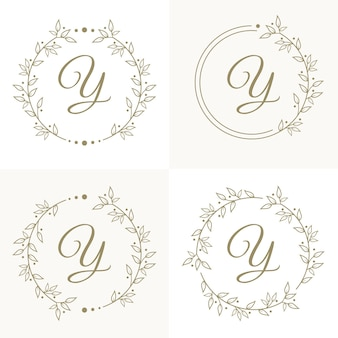 Luxury letter y logo design with floral frame background template