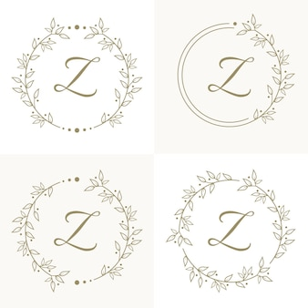 Luxury letter z logo design with floral frame background template