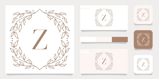 Luxury letter z logo design with floral frame template, business card design