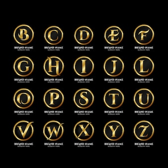 Luxury letters alphabet logo template in gold color