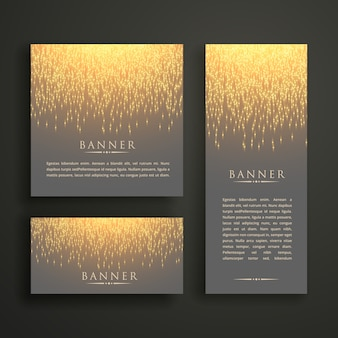 Luxury light sparkle banner card design in different sizes