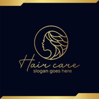ヘアスタイリスト、美容師、ヘアカット、サロンのロングヘアの美しさのロゴと豪華なラインアートの美しさの顔