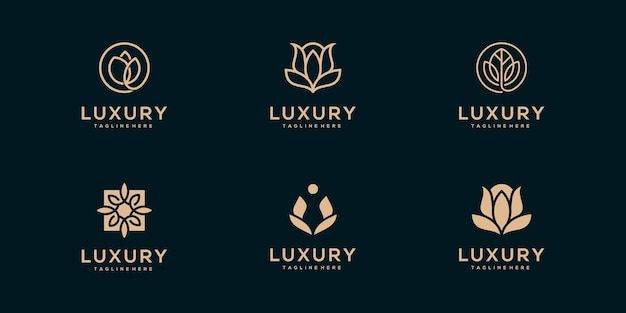 Luxury line art beauty flower, rose, and leaves logo collection
