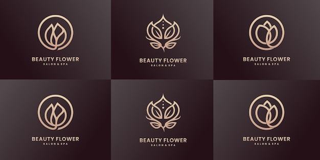 高級ラインアート美容ロゴデザインコレクション