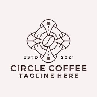Luxury line art circle coffee logo vector