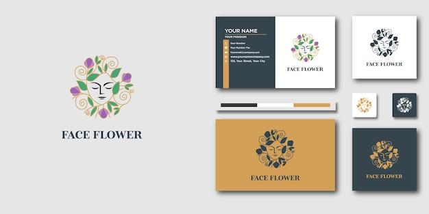 高級ラインアートの顔の花のロゴと名刺