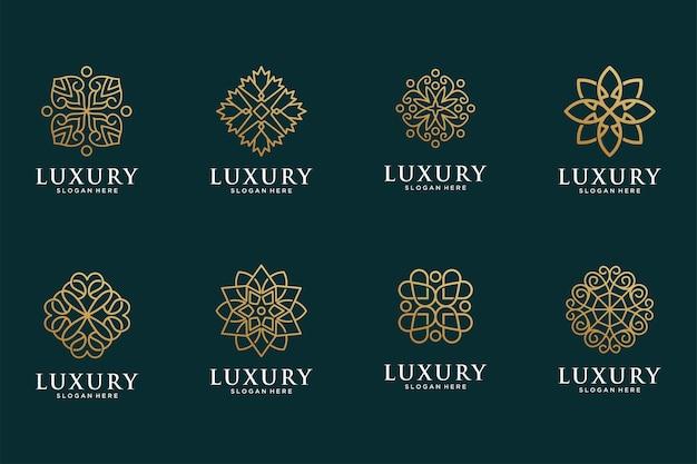럭셔리 라인 아트 플라워 골드 로고 디자인 컬렉션