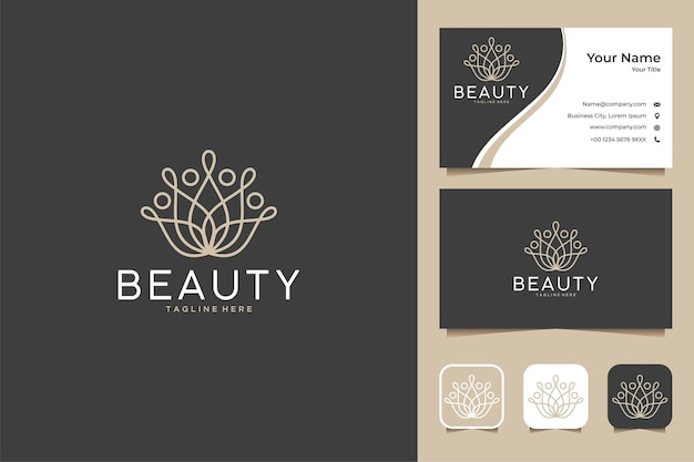 Luxury line art lotus beauty logo design and business card