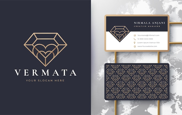 Luxury line art love diamond logo design