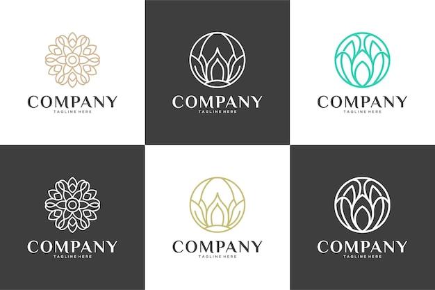 럭셔리 라인 아트 자연 꽃 로고 디자인 컬렉션