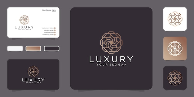 Luxury line art style. ornament logo abstract design with business card