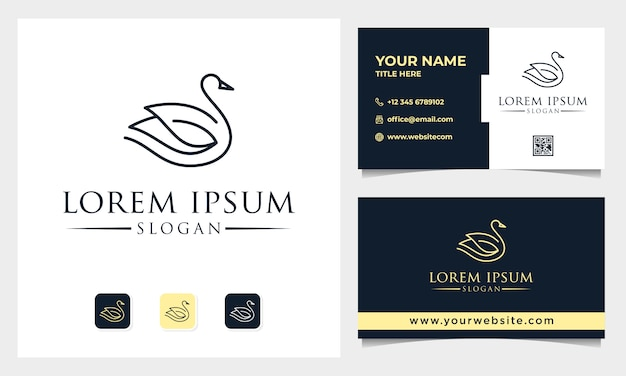 Luxury line art swan logo design with business card template
