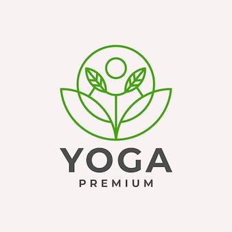 Роскошные линии искусства йоги лист логотип вектор