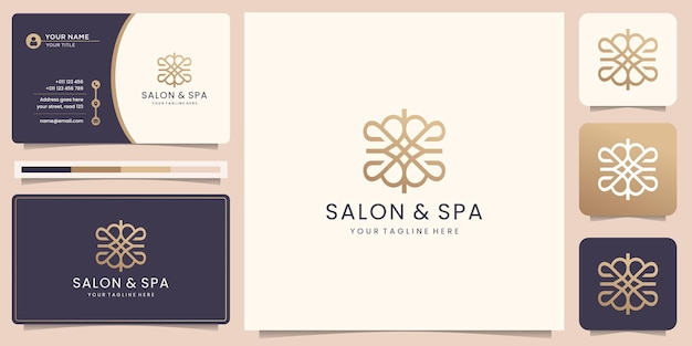 Luxury line beauty spa logo template.geometric line style for salon and spa design and business card
