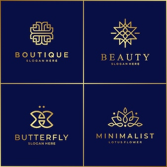 Luxury line design logo graceful symbols for beauty salons, skin care, boutiques, cosmetics, yoga and spas.
